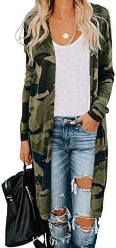 Dokotoo Womens Casual Fashion Camouflage Printed Chunky Open Front Knitted Long Sleeve Loose product image
