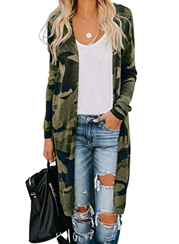 Sidefeel Women Long Sleeve Open Front Camo Print Knit Cardigans Outwear Medium Green