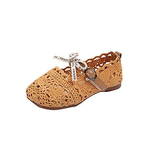 YWLINK Verano Para NiñAs Sandalias De Princesa Huecas De Punto Moda Zapatos De Playa Zapatos Planos Para NiñOs Zapatos Individuales Zapatos De Princesa Suela Suave Zapatos Casuales Zapatos De Baile