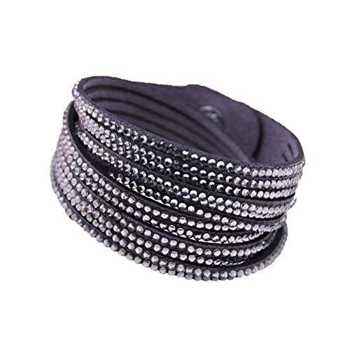 Slake Armband mit mehreren Strängen, Veloursleder, verstellbar, doppeltes Wickelarmband