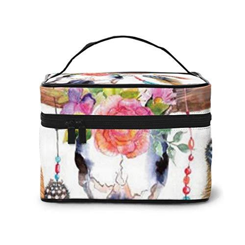 Crâne de Taureau Aquarelle avec Fleurs et Plumes Travel Train Case Cosmetic Case Organizer Portable Storage Bag