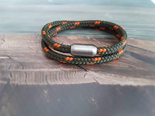 Handmade, Damen, Herren, Armband Edelstahl- Segelseil, Seil Wickel Armband Oliv Grün/Orange (kräftig), Größe frei wählbar
