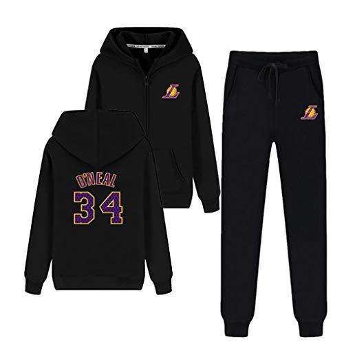 MEIGUI Juego De Chándales para Hombre Set Lakers 23# Fleece Hoodie Top Bottoms Jogging Joggers Gym Sweat Trajes D-S