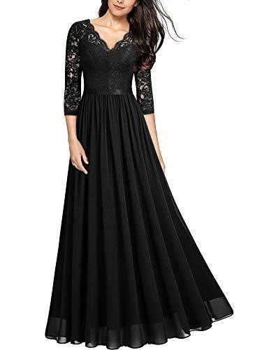 MIUSOL Abendkleider Damen Elegant Vintage Hochzeit Spitze Chiffon Faltenrock Prom Langes Kleid Schwarz XL