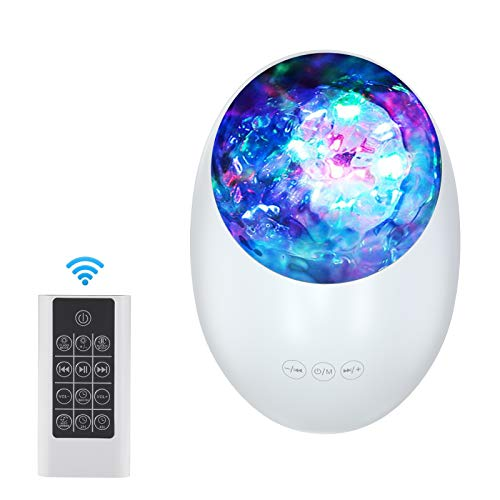 DTKID Ocean Wave Projektor Lampe Nachtlicht mit Fernbedienung und Timer,USB-Plug-In,Bluetooth-Projektorlampe mit 8 Farbmodi und 8 Ambient Nature Tunes für Kinder Erwachsene,Weihnachten Ostern Hallowee