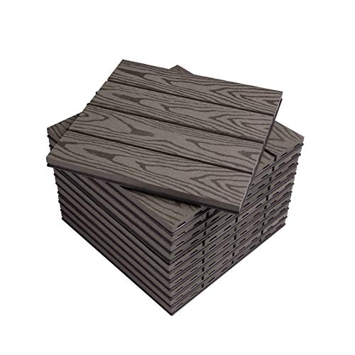 WOLTU Suelo de WPC Set de 11 Baldosas de Madera Exterior para Porche Patios Jardin, 30 x 30 cm 1m² Suelo de Exterior Compuesta Azulejos para Terraza, Jardin Café