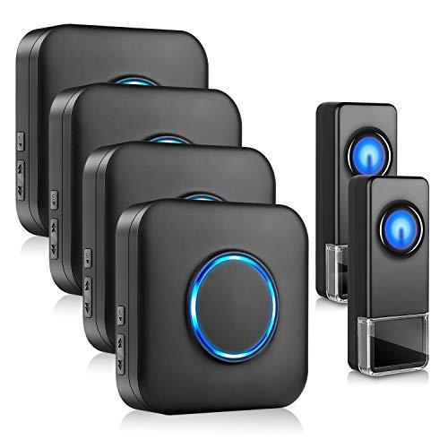 Wireless Doorbell, BITIWEND Waterproof Door Bells & Chimes Wireless Kit–1000-Foot Range, 58 Door Bell Chime, 5 Volume Levels with LED Flash–Wireless Doorbells for Home–2 Push Buttons & 4 Receivers