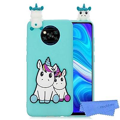 HopMore Funda para Xiaomi Poco X3 NFC Silicona Flexible Blando Divertidas Animal Carcasa Funda Xiaomi Poco X3 NFC Dibujo 3D Soft Case Ultrafina Cover Gracioso - Unicornio Verde