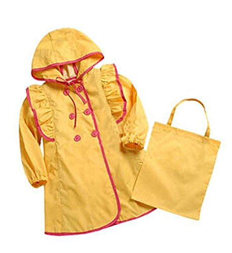 Lovely Baby-girls Robe de princesse pluie Mode enfants pluie Jaune S