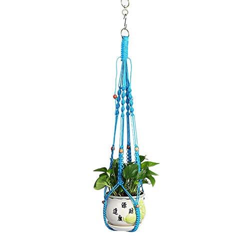 Monbedos 1 stuks bloempot nettas hangende mand plant lanyard macramé bloempot voor binnen buiten plafond balkon (geen bloempot) blauw (light blue)