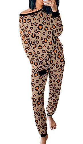 PRETTYGARDEN Women's Casual Two Piece Pajamas Set Leopard Print Long Sleeve Tops with Drawstring Pants Loungewear Sleepwear