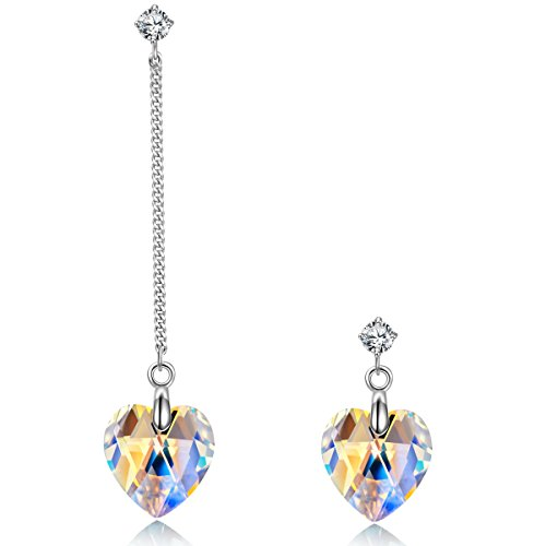 NINASUN Christmas Sterling Silver Drop Dangle Earrings Glaring Love Swarovski Crystals Heart Jewelry for Women Birthday Gifts for Her Daughter
