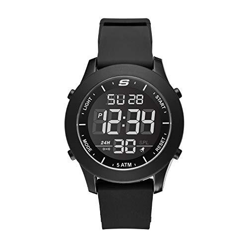 Skechers Men's Rosencrans Quartz Casual Sports Silicone Digital Watch, Color: Black (Model: SR5107)