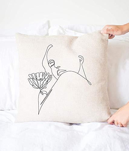 Mimi&Tone Skandi - Funda de cojín decorativa de cara abstracta de alta calidad, cojín decorativo minimalista, bohemio, estampado