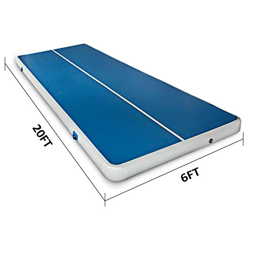 LYYNTTK 20x6ft Air Track Airtrack Gymnastics Tumbling Mat Inflatable Tumble Track with Electric Air Pump for Home Use/Tumble/Gym/Training/Cheerleading