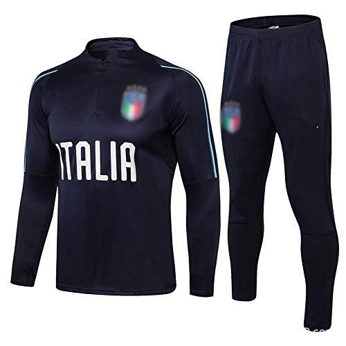 European Football Club Männer Fußball Langarm Sportbreathable Sport Schwarz Trainings-Uniform (Top + Pants) -ZQY-A0761 (Color : Black, Size : M)