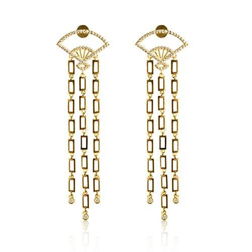 Jewelry Earrings Women's Earrings 925 Silver Fan Tassel Earrings a Pair of Hand-Set Earrings Best Gift Gift Box Ball Clip-Ons Cuffs&Wraps Drop&Dangle Hoop Stud (Color : Gold, Size : 2070mm)