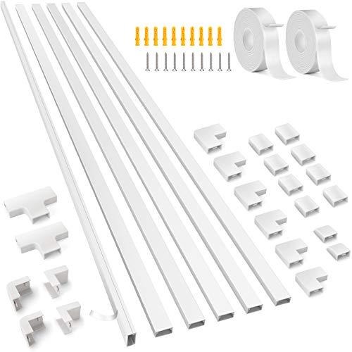 Kabelkanal Weiß 1m Länge, 20x10 mm | 6 Stück Kabelkanal Selbstklebend Weiss | 600cm PVC Kabelabdeckung, Kabelschacht zum Kabel verstecken bei Kabelsalat TV Kabelkanal