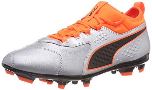 Puma One 3 LTH AG, Zapatillas de Fútbol Hombre, Plateado Silver-Shocking Orange Black 01, 44.5 EU