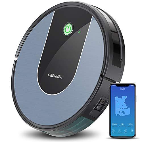 DEENKEE Starke 1400Pa Aspirateur robot Wi-Fi avec commande vocale Alexa et capteur gyroscopique 6,9 cm super fin, charge automatique et navigation bleu ciel