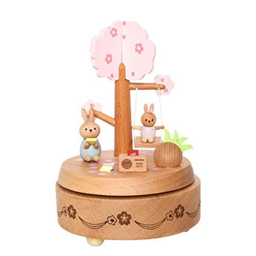 SOIMISS Carillon di Legno di Pasqua Coniglietto sotto L'Albero Coniglio su Altalena Ornamento Decorativo per La Casa Regalo di Pasqua per Ragazze Bambini
