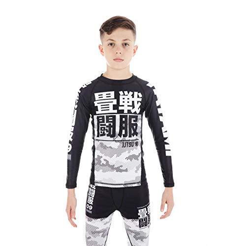 Tatami Niños Blanco Camuflaje Manga Larga Infantil Camiseta de Neopreno - Negro, L
