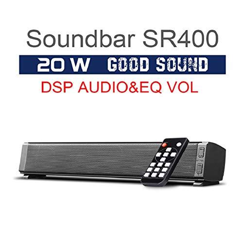 Barra de sonido de 120 W, 5.0 versión Canal SoundBar Subwoofer, Bluetooth inalámbrico y altavoces de cine en casa con cable para TV (versión Bluetooth 5.0, modelo 2020), Negro