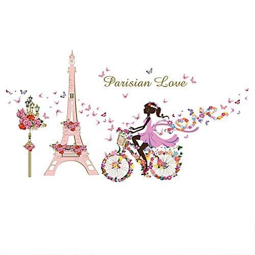 DealMux flor Torre de chicas bicicletas vinilo etiquetas engomadas desprendibles de la pared arte para chicas Home Living Dormitorio Decoración Mural Decal auto adhesivo
