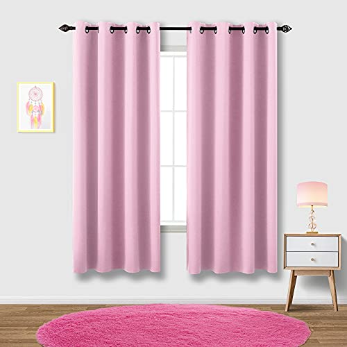 Pink Curtains 63 Inch Length for Girls Bedroom 2 Panel Sets Pair Light Blocking Grommet Thermal Insulated Curtains in Summer Window Curtain Panels Blackout for Girls Room 52x63 Inches Long
