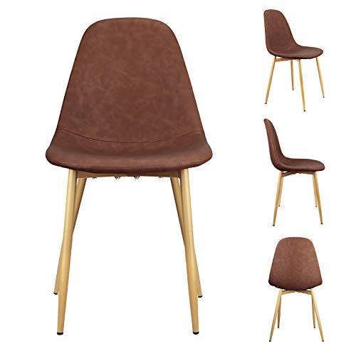 1 set di 4 sedie da pranzo in pelle PU per il tempo libero sedia stile retrò cucchiaio sedia adatto...