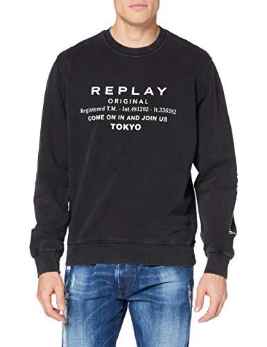 Replay Herren M3335 Sweatshirt, 098 Black, M