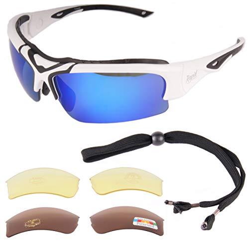 Rapid Eyewear 'Toledo' GAFAS DE SOL DEPORTIVAS para hombre y mujer. Lentes intercambiables. Brazos laterales ajustables. Ideal para esquiar, ciclismo, conducer
