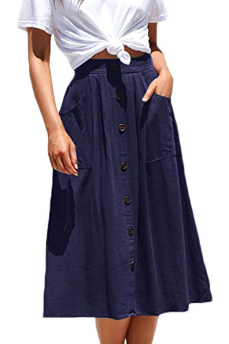 Meyeeka Basic Stretchy Clubwear for Women High Waist A-line Flared Skater Cotton Skirt S Navy