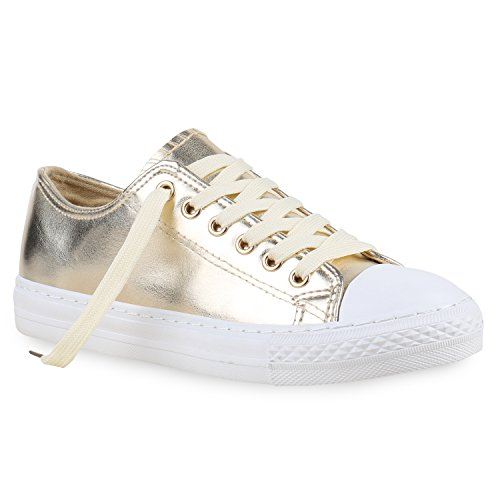 stiefelparadies Damen Sneakers Mehrfarbig Metallic Turn Sneaker Low Freizeit Flats Glitzer Schuhe 130111 Gold Metallic 37 Flandell