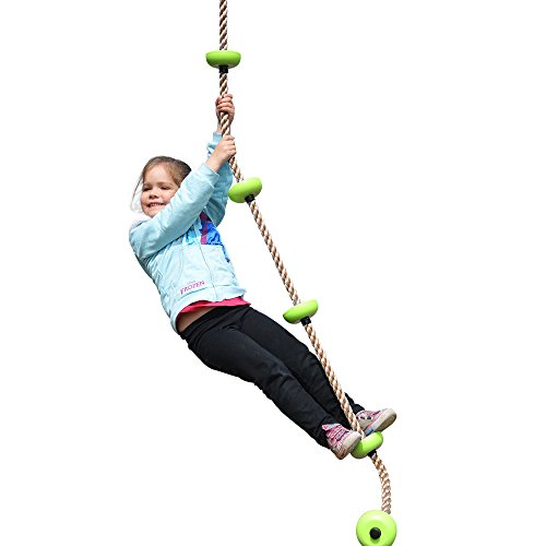 happypie Kletterseil für Kinder 1.8m mit Mehrzweck Kunststoff Knoten Maximale Belastung 70kg Grün