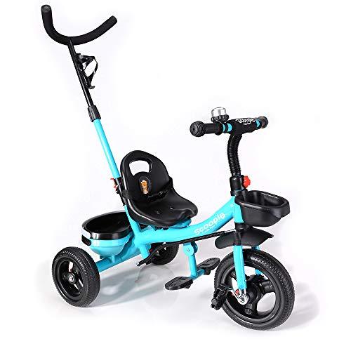 BABY-PLUS Scoopie Trike 2in1 Dreirad mit Schubstange, Freilauf, Korb und Gurt [Tourquise]