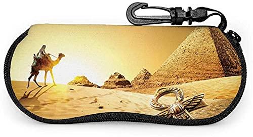 Guía de viajeros de Egipto, camello, símbolo de animal, pirámide, patrón artístico de Egipto, estuche de gafas para hombres y mujeres con mosquetón