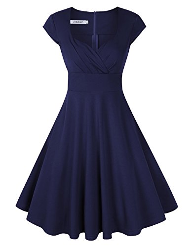 KOJOOIN Damen Vintage Kleid Cocktailkleid Abendkleid Ballkleid Rockabilly Taillenbetontes Kleid...
