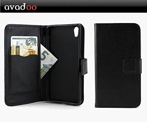 avadoo® Medion Life X5020 Flip Hülle Cover Tasche Schwarz mit Magnetverschluss & Dualnaht als Cover Tasche Hülle