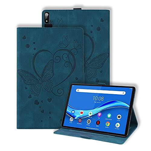 Keikail Hülle für Samsung Galaxy Tab S7+ / S7 Plus 12.4, T970 /T975 /T976 Tasche, PU Ledertasche Schutzhülle mit Ständer Funktion & Auto Schlaf/ Wachen, Motiv Schmetterlingen Brieftasche, Blau