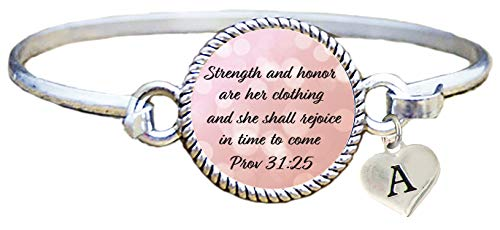 SAS Custom Christian Scripture Cuff Bracelet Proverbs 31:25 Strength & Honor Choose Initial