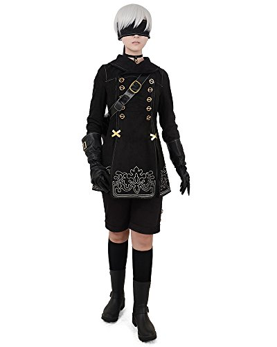 miccostumes No.9 Type S Cosplay Costume with Bag Gloves Eyepatch (L) Black