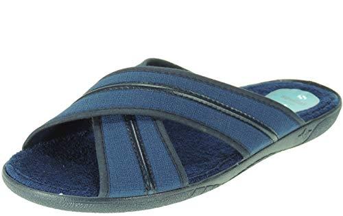 ALBEROLA-SEVILLAS Zapatilla Abierta Palas Cruzadas Toalla Destalonada Descalza para Casa y de Hombre Azul Talla 43