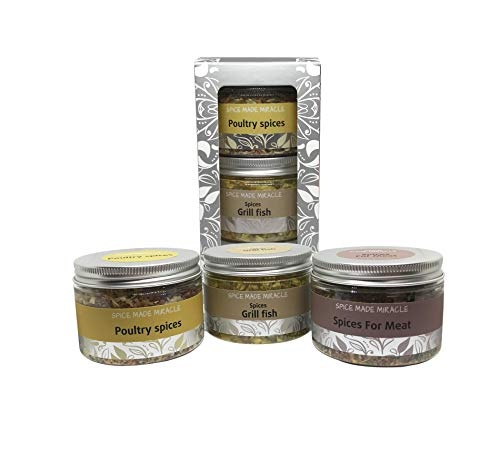 Spaisvile Gift Set of Spices for Meat, Grill Fish and Poultry, 3 Pieces, 240g