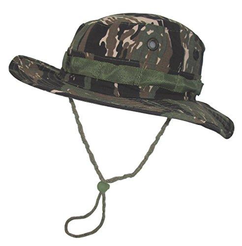 A. Blöchel US Army Outdoor Dschungelhut Rip Stop Boonie Hat Schlapphut in vielen Farben und Größen (L, Tigerstripe)