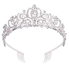 Brand:Didder Beautiful Shape: quality rhinestones are paved on alloy crown which is bright and gorgeous. Material: Made of durable hard alloy and rhinestone. Alloy is with diamond look and hard texture for practicality and aesthetics. Crown With Comb...