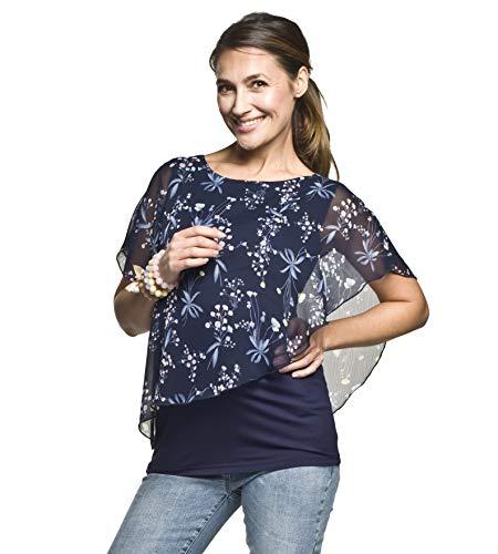 Torelle Maternity Wear 2in1 Umstandsshirt mit Stillfunktion, Modell: Elfi-Alaja, dunkelblau-Blumen, M