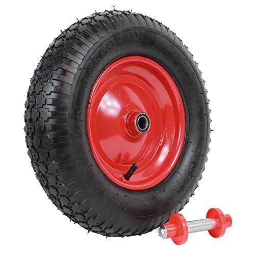 TrutzHolm® Schubkarrenrad 4.80/4.00-8 mit Achse Schiebkarrenrad Luftrad Ersatzrad 4PR 4 Lagen 390mm | 200kg | 95mm Breite Reifen für Schubkarre