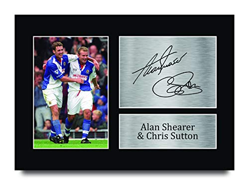 HWC Trading A4 Alan Shearer & Chris Sutton Blackburn Rovers 1994/1995 Champions Gifts Printed Signed Autograph Picture for Fans and Supporters - A4