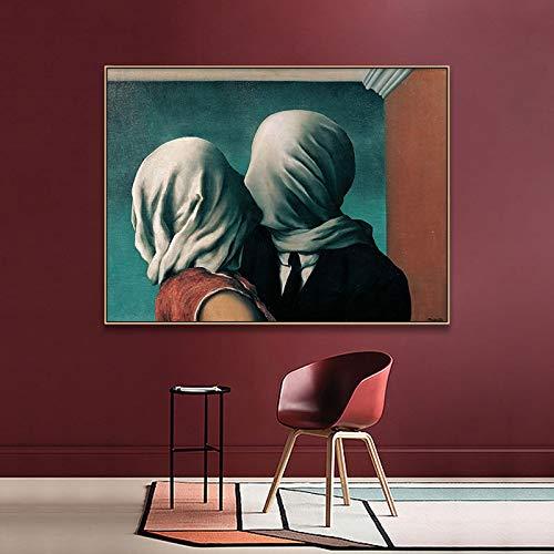 tzxdbh Klassische Grafik Reproduktion Künstler Magritte The Kiss Poster Und Drucke Leinwand Kunst Malerei Wandbilder Wohnkultur50X75